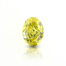 0.81 ct. Natural Fancy Yellow Diamond VS2 OVAL shape, GIA.
