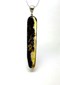 Natural Baltic Amber pendant 10 cm with sterling silver 925 - cut Amber bead, not pressed, no reserve