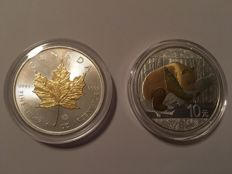 Canada, China - 5 dollar maple leaf 2014 + 10 yuan 2016 panda - 999 silver with 24 kt gold finish