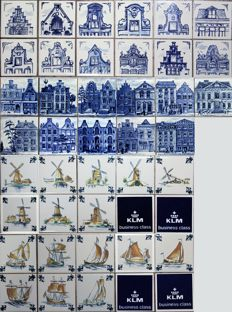 Lot with 39 Delftware KLM Business Class tiles
