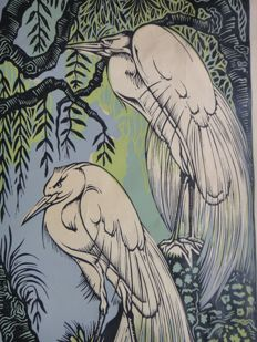 Paradijsvogels - coloured in wood cut - Jan Spronk (1889 - 1976)