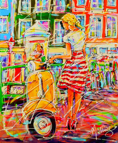 Mathias - Street of Amsterdam, girl and yellow scooter
