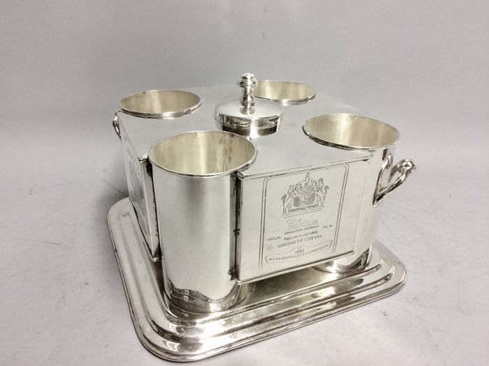 Silver Plated wine cooler for four bottles with ice container in the middle, engraved with Cos d'Estournel and Chenas