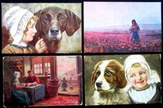 Great batch of 108 illustrated postcards - romantic - children - animals - museums - 1900/1930