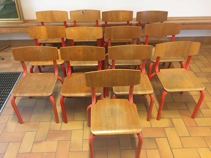 Thirteen  Danish school chairs - plywood and metal