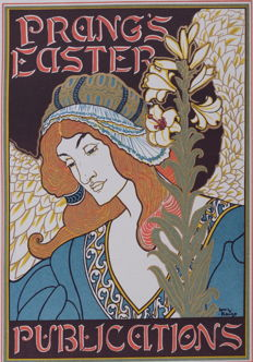 Louis Rhead - 'Prang's easter' original small lithograph poster from the 'Les Affiches Etrangères Illustrées' series