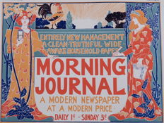 Louis Rhead - 'Morning Journal' original small lithograph poster from the 'Les Affiches Etrangères Illustrées' series