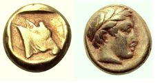 Greek antiquity - Lesbos, Mytilene EL Hekte. Circa 377-326 BC. - well centered - good color - nice details.