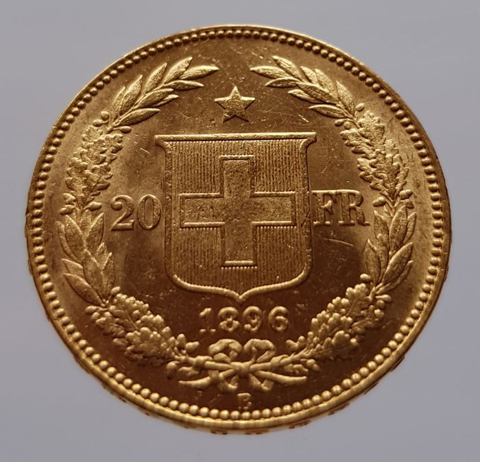 "Switzerland - 20 francs 1896 B ""Helvetia"" - gold"