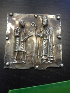 """""""St. Zeno and the Emperor Gallienus"""" Bas-Relief made of Sterling Silver 925, Fidia Gallery (VR) - Italy"""