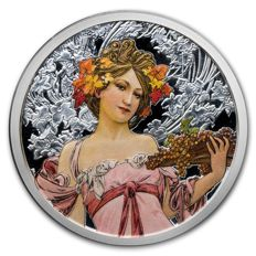 USA - Osborne Mint - 5 oz - Alfons Mucha collection - Champagne white star - Colour edition - Edition of 500 pieces - With certificate