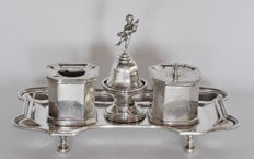 Inkstand with bell, Fornezza silversmith Vicenza (Italy), 20th century