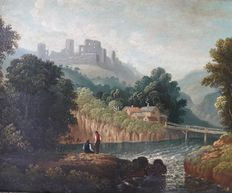 English school (19th century) - 'Peasants fishing before the Castle'