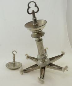 Judaica - Jewish Lamp - Judenstern - Pewter - 6 canes - for synagogue - Poland - ca. 1920's