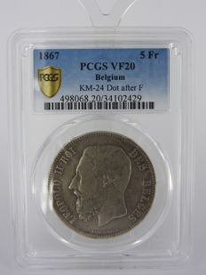 Belgium - 5 Francs 1867 with dot behind 'F', Leopold II - silver