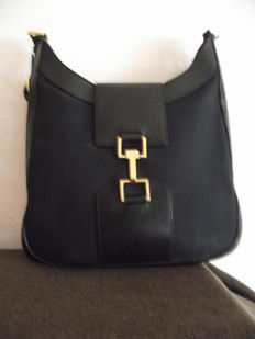 Gucci - Bardot in canvas and black leather Shoulder bag