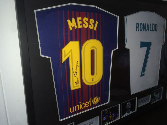 f34bba939 Lionel Messi and Cristiano Ronaldo - Official Dual Signed Shirts 17 18 in  Brand New Deluxe Frame + COA A1 and Photoproof!
