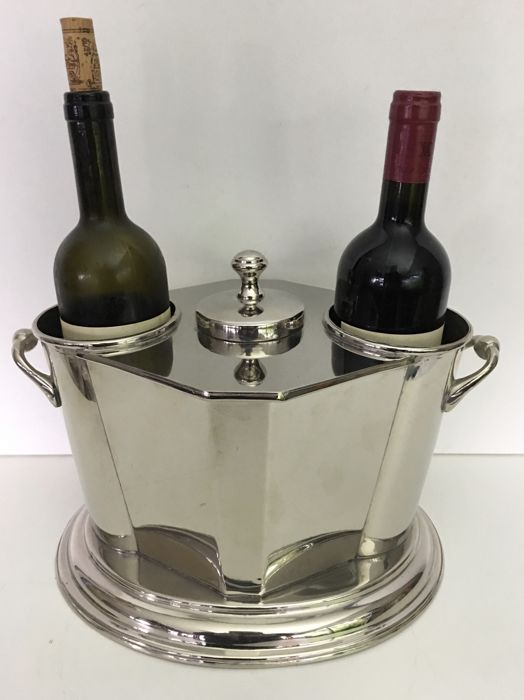 Silver-plated wine cooler / champagne cooler for 2 bottles - France - mid-20th century