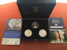 Great Britain – 5 Pounds 2000, 2001 and 2002 (3 coins) – Silver