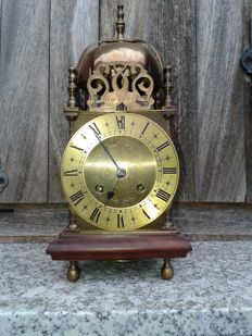 'Lantern' clock, Smiths, England case, Paris movement, approx 1920