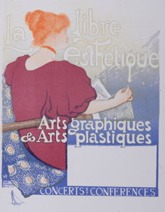 Theo Van Rysselberghe - 'La Libre esthetique' original small lithograph poster from the 'Les Affiches Etrangères Illustrées' series