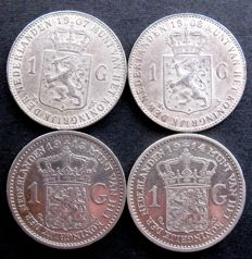 The Netherlands - 1 Guilder 1907, 1908, 1913 and 1914 (4 different coins) Wilhelmina - silver