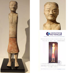 A Grey Panted Pottery Stick Figure, Han Dynasty, (with thermoluminescence test), H. 59 cm.
