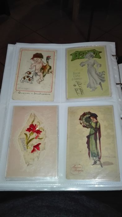 Quantity and especially QUALITY, postcards from the early 1900s, embossed Italian greeting cards only, all photos included, AMAZING VALUE