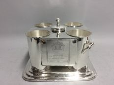 Wine cooler for four bottles with ice container in the middle, engraved with Cos d'Estournel and Chenas