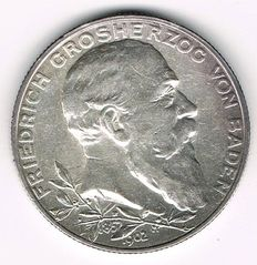 German Empire, Baden - 2 Mark 1902 50th Year of Reign - silver