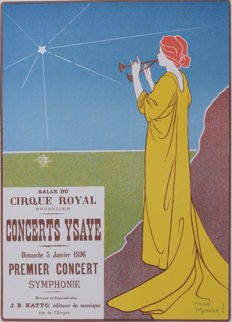 Henri Meunier - 'Concert Ysaye' original small lithograph poster from the 'Les Affiches Etrangères Illustrées' series