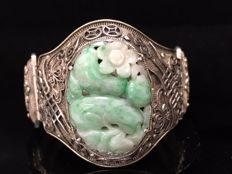 Antique silver filigree bracelet with carved jade, China, c. 1910