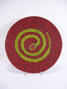 """Marty Glass Murano Large plate with murrine """"Cleopatra"""" - Unique piece, signed, numbered and dated."""