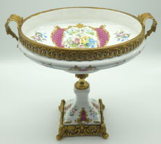 Fine Mignon Decore C.Limoges porcelain and brass mounts footed bowl