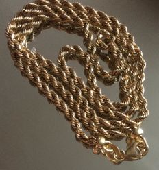 18ct Twist Rope Chain Necklace Solid Yellow Gold 4.70gr. 48 cm.