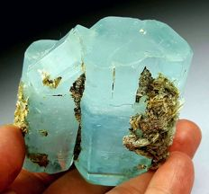 Large Sky Blue Color Aquamarine Cluster with Mica - 65 x 63 x 35 mm - 228gr