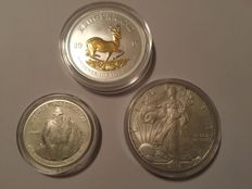 USA and South Africa - 1 dollar 2010 'Silver eagle' +  ½ dollar 1982 George Washington +  krugerrand 2017 with 24 kt gold