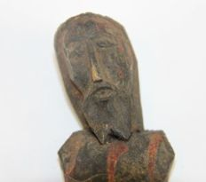 Corpus Christi Spanish Colony wooden figurine, black Christ, Guatemala 18th/19th century