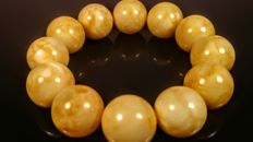 Vintage white/ egg yolk colour modified Baltic Amber bracelet, 35 grams