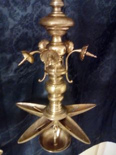 Copper Judaica sabbath oil lamp - Germany - Mid 19th century
