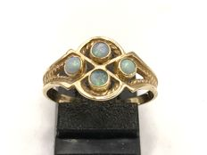 Handmade 14 kt gold Women's ring set with Opal - Ring size is 18.00