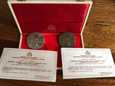 San Marino - 2x Medals 1973 in a box - bronze and silver