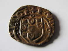 Portugal Monarchy - D.Manuel I ( 1495-1521 ) - Shield with Dots - Rare - Copper