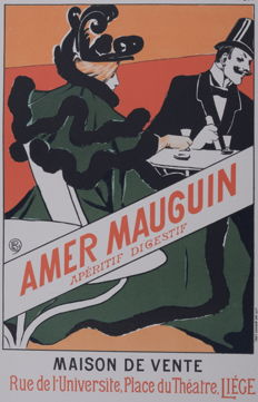 Emile Berchmans - 'Amer Mauguin' original small lithograph poster from the 'Les Affiches Etrangères Illustrées' series