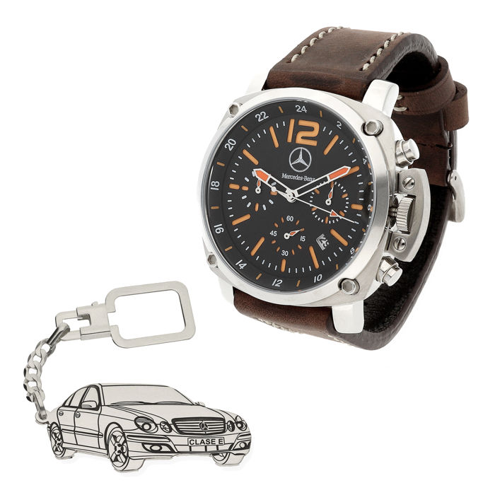 S&S men's watch for Mercedes + Sterling silver key ring with a reproduction of the Class E model