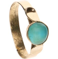 18 kt yellow-gold ring, set with turquoise - ring size: 16.25 mm