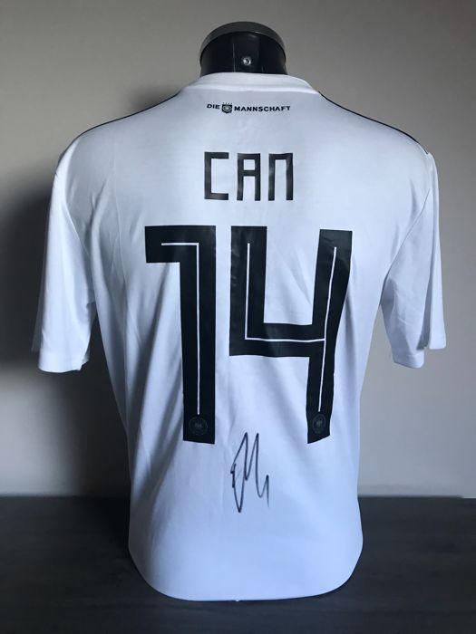 Emre Can Germany WORLD CUP 2018 home shirt signed with photos of the moment of signing and COA