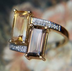 Vintage gold ring with Citrine and Smokey Quartz and 10 small Diamonds for a total of 2.33ct