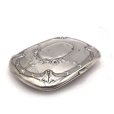Large antique carved silver cigarette case with gold-plated inside - ca 1900