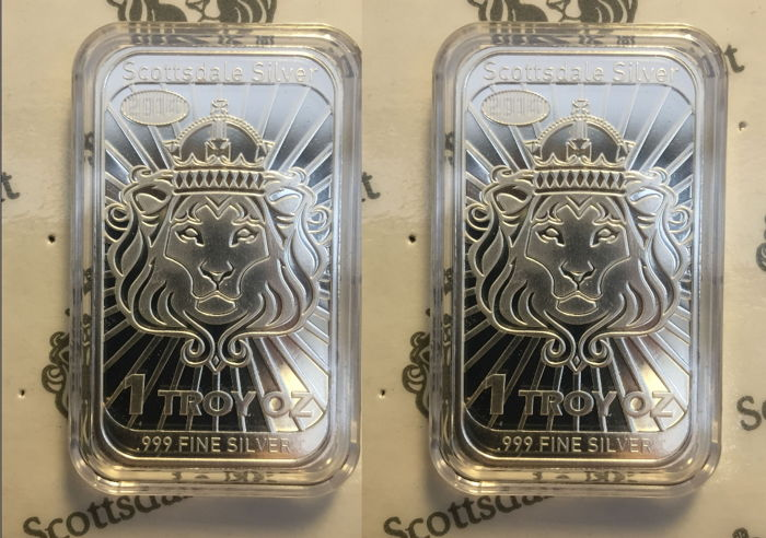 USA - 2 x $2 - Niue - Scottsdale Mint - Lion 2014 - Coinbar - Mint Guard - 2 x 999 silver bars - Edition of only 359,000 pieces